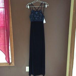 Navy Velvet Sequin Top Sleek Long Dress
